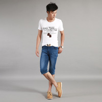 2013 summer fashion mid waist loose thin denim shorts male