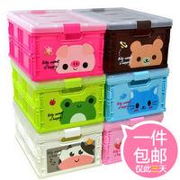 Free Shipping cartoon folding storage box finishing box Large desktop plastic storage box storage box