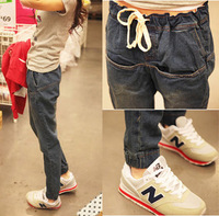 2013 autumn jeans elastic waist drawstring thin plus size harem pants trousers pants
