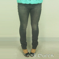 Fashion smoky grey all-match pencil pants jeans pants plus size
