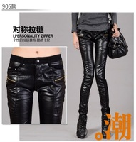 2013 women's leather pants patchwork PU slim skinny pants tight-fitting basic casual plus velvet trousers