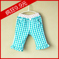 2013 spring and autumn gentlewomen boot cut polka dot plaid female child kz120098 capris