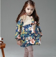 New arrival Brilliant colors flower medium-long thick baby girl children winter warm lovely wadded cotton-padded jacket  coat
