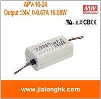 Free Shipping- # APV-16-24  meanwell 16.8W single output switching power supply output 24V 0.67A  apv-16-24 APV16 24V 16.8W  New