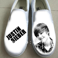 Free shipping 2013 Hot Newest Justin bieber hand-painted canvas flat shoes graffiti casual shoes for man and woman
