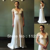 Elegant Ivory Short Sleeve Lace Appliqued Wedding Dresses For Pregnant Women HZ3672