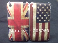 2pcs/lot For iphone 3 3s Hard Case Retro UK USA National Flag Hard Cover Back Case for Iphone 3S 3G  Promotional