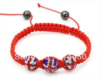 new fashion shamballa,bracelet crystal clay jewelry high quality handmade disco paved ball silver chain red line