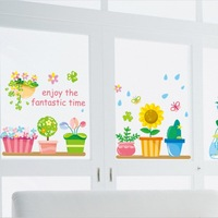 Double faced pattern wall stickers flower pot water bottle watering child real bedside am
