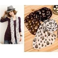 Autumn and winter skull silk scarf cape silk scarf silk scarf long y7073  Free shipping