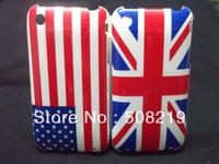 100pcs/lot  For iphone 3G Hard Case,UK USA Retro National Flag Back Cover Hard Case For iphone 3G 3S