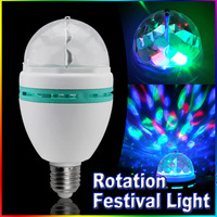 5pcs/lot Auto Rotate 360 degree RGB 3W e27 holiday led bulb AC85-260V Careful works Unmissable Christmas Lighting Free Shipping