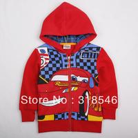 Free shipping 5pcs/lot children clothing boy  hooded jacket with car  boy coat boy character zipper outerwear