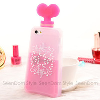 Fashion Ladies Style Candies Perfume Bottles Cover Silicone Case For iPhone 4 4S PC064-4