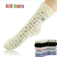 Female Cotton 100 Socks Snowflake Print Harajuku Style Designer Socks Autumn-summer Socks Wholesale 5pair/lot Free Shipping 63