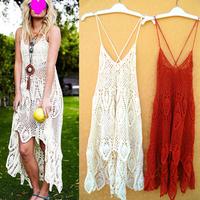 Summer Women Fashion Sexy Irregular crochet cutout Dress Hollow Out strap one-piece dress