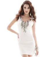 HOT! Party Goddess ~ European and American big fashion luxury diamond thin waist mini dress mini dress,free shipping