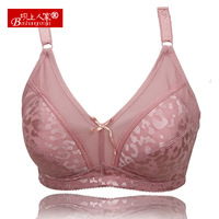 free shipping Plus size wireless small full cup quinquagenarian deep V-neck thin bra adjustable bra 023