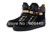 Free shipping ! giuseppe brand new shoes leather zipper high -top men / woman nubuck leather gold metal sneakers