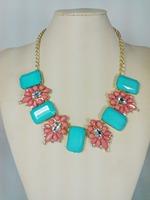 2014 new spring fashion lady acrylic crystal stone flower necklace, chocker necklace jewelry