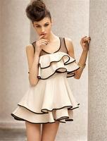 HOT! Korean fashion stitching mesh vest, skirt flounced chiffon dress skirt like summer flowers,free shipping