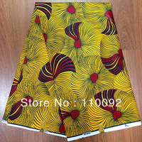 100% cotton SUPER wax fabrics (dsw62)! Yellow background Cotton SUPER wax prints! Popular SUPER batiks!