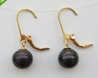 HOT beautiful 9-10MM AAA+++TAHITIAN BLACK PEARL EARRING 14K YG MARKED