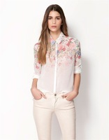 Fashion Solid New Sale Top Brand Shirt Women White Irregular Floral Print Large Long Sleeve Chiffon Shirt Blouses for Women S- L