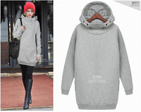 100%Brand new fashion long design hoodies sweatshirts women 2colors S,M,L,XL,XXL Free shipping