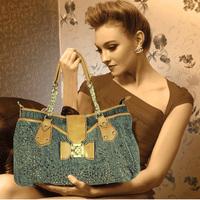 Denim bag 2013 fashion bow rivet personality casual one shoulder cross-body handbag large bag