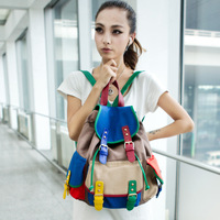 2013 women's handbag summer color block canvas man bag shoulder bag backpack school bag