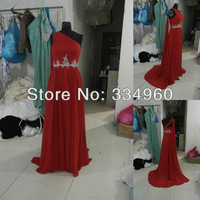 Red Real Sample Rhinestone Decorated Sash Long Formal Party Dresses Chiffon One Shoulder A-line Pattern Floor Length