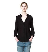 Wholesale 2013 Elegant Fashion Sexy Long sleeve O-Neck Black Pu Leather Patchwork Women Blouse Shirt Tops