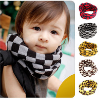 Child yarn scarf muffler scarf fashion square plaid yarn knitted baby scarf muffler
