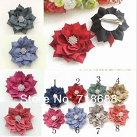 Trial order Winter Flowers With Starburst Button Kanzashi Fabric Flowers CLIP 50PCS/LOT By AngelBaby headwear