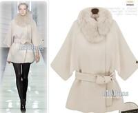 lady winter fur bat causal Half Sleeve woolen overcoat wool garment  Adjustable Waist Garment  S M L XL