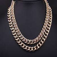 Hot Sale!! New fashion double chain gold rhinestone chunky choker statement necklace women costume jewelry, Free Shipping