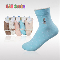 2014 New Women's Cute Rabbit Cotton 100 Socks Candy Color With Dot Print Women Brand Socks Wholesale 5pair/lot Free Shipping 66