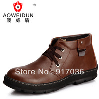 Winter thermal cotton-padded shoes male genuine leather platform male casual fashion boots