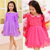 2015 new retail warm winter roses girl sequined collar long-sleeved dress and velvet-lined mesh princess dress Free Shipping