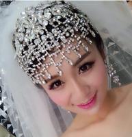 Super luxury women vintage wedding bridal head jewelry tassel  crystal tiaras rhinestones jewelry accessory