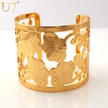 Big Размер Hollow Design Fancy Cuff Bracelets  18K Real Золото Plated Bracelets ...