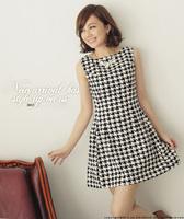 Free Shipping New Fashion Women's Dresses Houndstooth Sleeveless Cotton Dress 5660