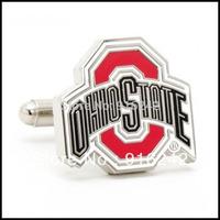 Free Shipping High Quality Custom Replica Sports Silver Ohio State University Buckeyes Cufflinks