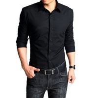 free shipping Semir spring and autumn shirt black male long-sleeve slim shirt male casual Men long-sleeve
