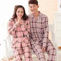 free shipping Spring and autumn noble plaid 100% lovers cotton long-sleeve sleepwear winter male women's full lounge