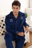 Hot-selling autumn and winter thickening coral fleece sleepwear solid color sleepwear male robe bathrobes lounge set