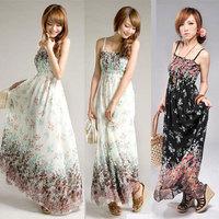 2014 vestidos Fashion Women Dresses New Brand Summer Floral Print Dress Casual Bohemian Maxi Long Dress Free Shipping MY191