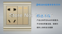 Wholesale 10pcs/lot 220V 10A 2 gang 5 hole living room Wall switches socket EU standard Gold color light switch CE & Rosh