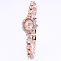 2013 Famous high quality dropship fashion oval alloy band rose gold plated watches women fashion luxury watch diamonds